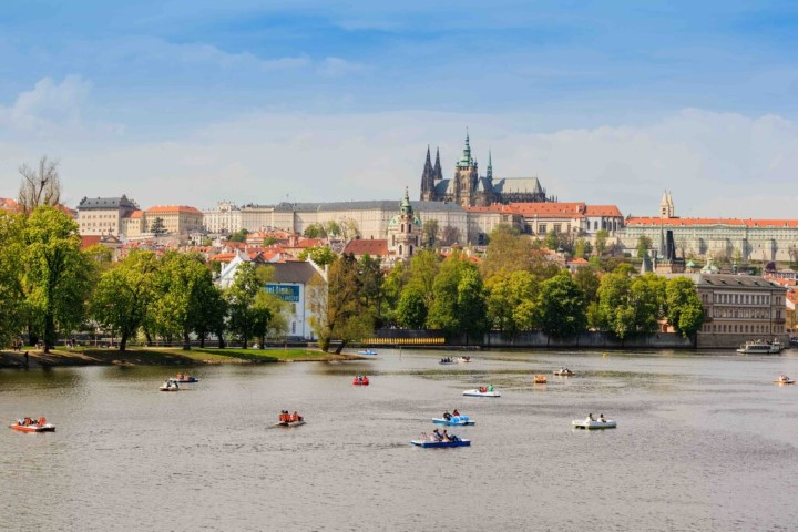 The view of Vltava river and the Prague Castle