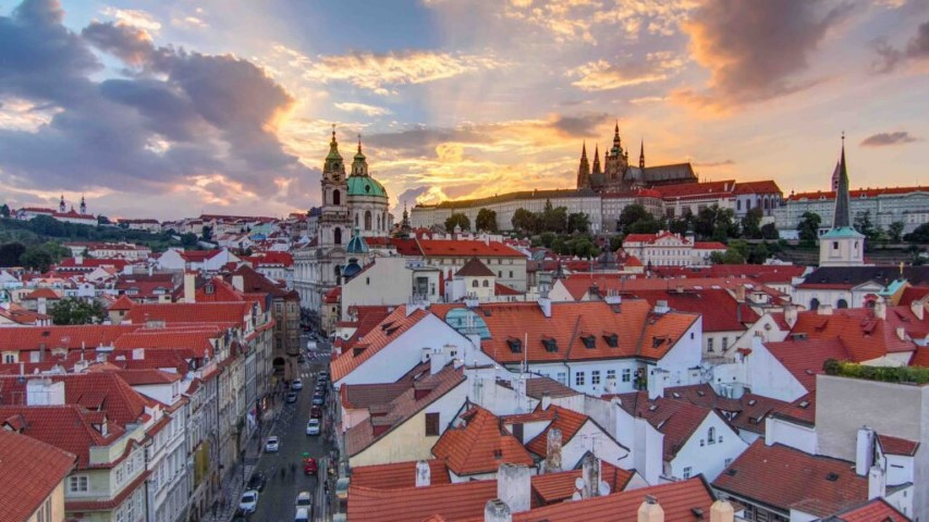 Lovely red roofs of old houses in the Lesser Quarter in Prague
