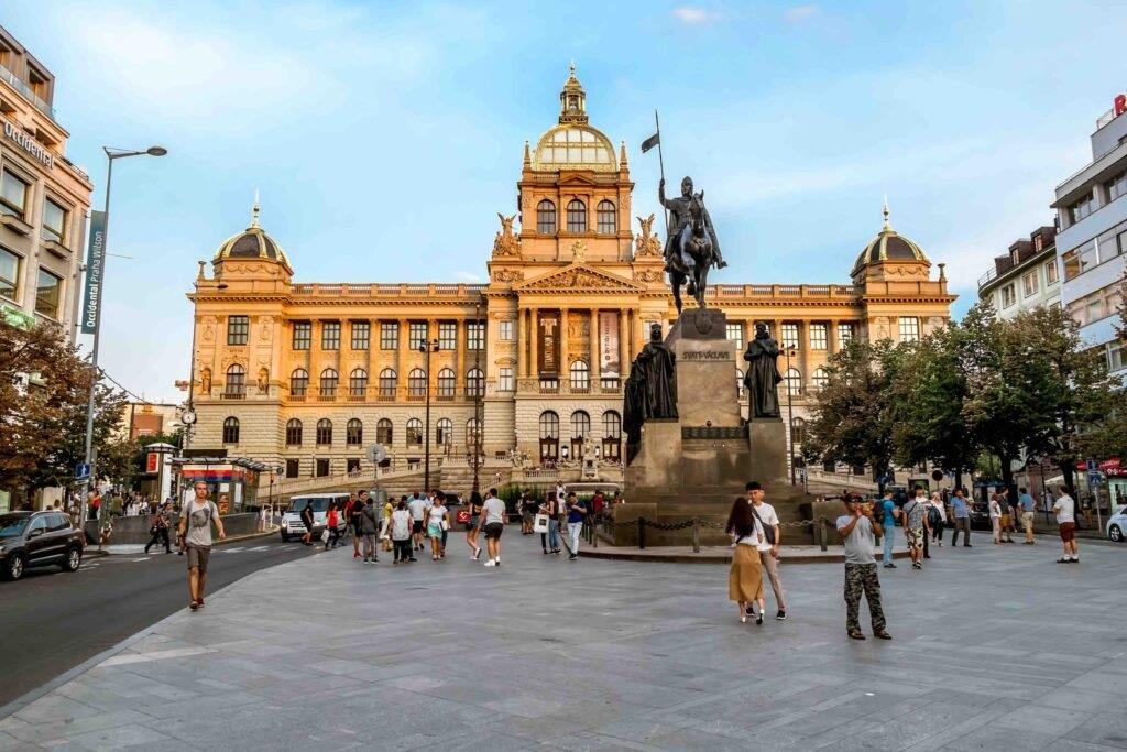 The National Museum and the St. Wenceslas Statue at Wenceslas Square