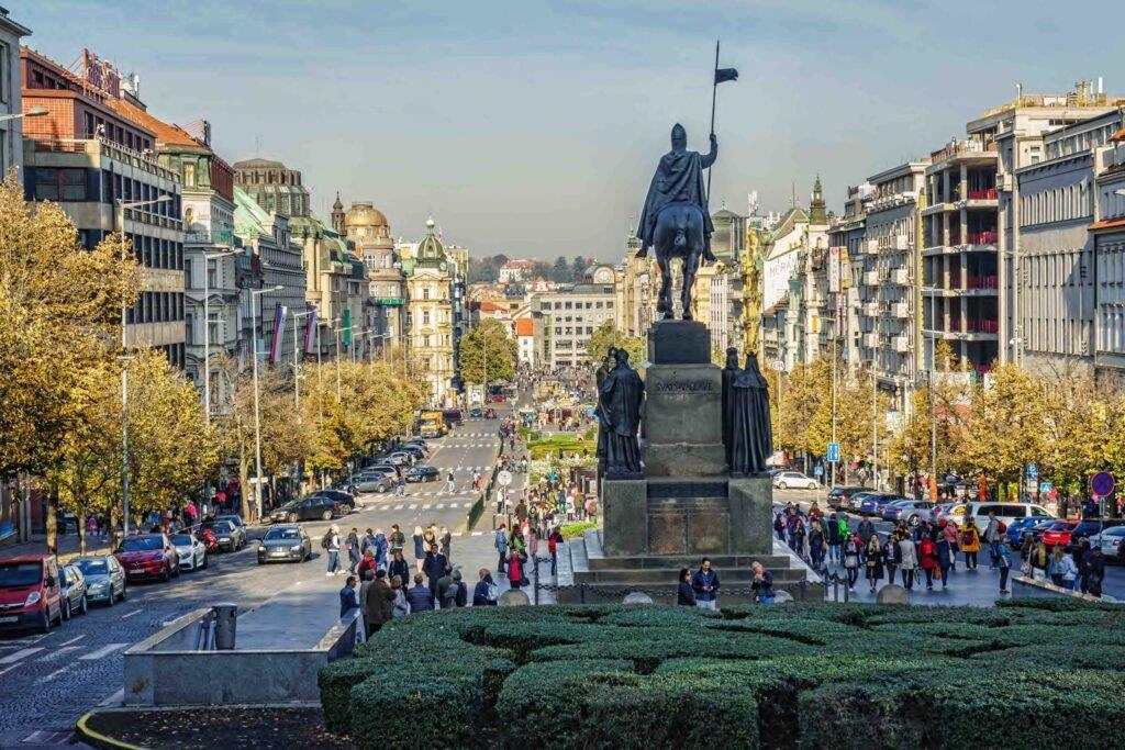 The Wenceslas Square is one of the main Prague squares